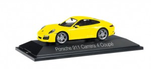 Herpa 071086 Porsche 911 Carrera 4 Coupé, racing yellow 1:43